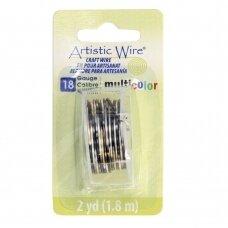 Artistic Wire® vielutė 18 Gauge/1mm sidabro, aukso, juodos spalvų (1.8m/5.90ft)
