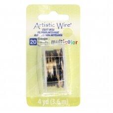 Artistic Wire® vielutė 20 Gauge/0.81mm sidabro, aukso, juodos spalvų (3.6m/11.80ft)