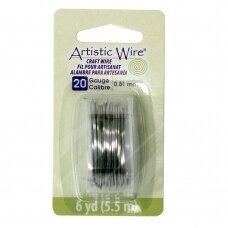 Artistic Wire® vielutė 20 Gauge/0.81mm Stainless Steel (plieno spalvos) (5.5m/18ft)