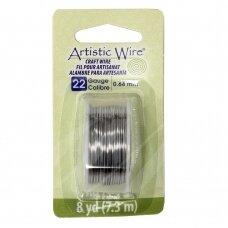 Artistic Wire® vielutė 22 Gauge/0.64mm Stainless Steel (plieno spalvos) (7m/23.9ft)