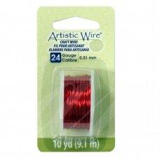 Artistic Wire® vielutė 24 Gauge/0.51mm Red (raudona) (9m/29.8ft)