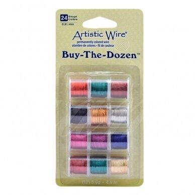 Artistic Wire® Buy the Dozen™ vielutė 24 Gauge/0.51mm įvairios spalvos (4.5m/5yd kiekviena)
