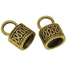 ASPECMD2813.2 apie 15 x 10 mm, skylių,apie 7 mm, sendinto aukso spalva, kepurėlė, apie 100 vnt.