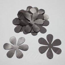 atl0001-gel-43x43 apie 43 x 43 mm, gėlytės forma, pilka spalva, atlasas, 10 vnt.