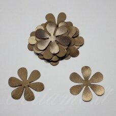 atl0003-gel-33x33 apie 33 x 33 mm, gėlytės forma, sendinta auksinė spalva, atlasas, 10 vnt.