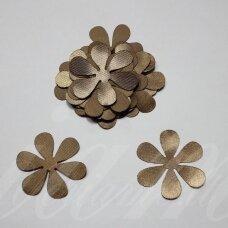 atl0003-gel-53x53 apie 53 x 53 mm, gėlytės forma, sendinta auksinė spalva, atlasas, 10 vnt.
