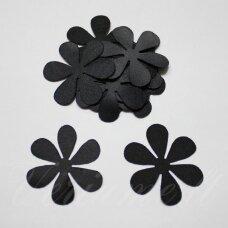 atl0004-gel-33x33 apie 33 x 33 mm, gėlytės forma, juoda spalva, atlasas, 10 vnt.