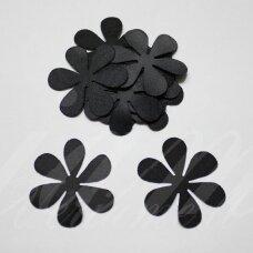 atl0004-gel-53x53 apie 53 x 53 mm, gėlytės forma, juoda spalva, atlasas, 10 vnt.