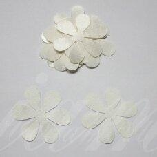 atl0005-gel-33x33 apie 33 x 33 mm, gėlytės forma, gelsva spalva, atlasas, 10 vnt.