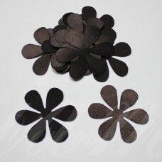 atl0006-gel-33x33 apie 33 x 33 mm, gėlytės forma, tamsi, ruda spalva, atlasas, 10 vnt.