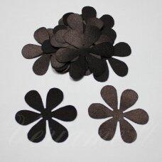 atl0006-gel-43x43 apie 43 x 43 mm, gėlytės forma, tamsi, ruda spalva, atlasas, 10 vnt.