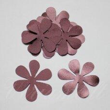 ATL0011-GEL-43x43, apie 43 x 43 mm, gėlės forma, tamsi, kreminė spalva, atlasas, 10 vnt.