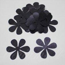 ATL0012-GEL-33x33, apie 33 x 33 mm, gėlės forma, pilka,  violetinė spalva, atlasas, 10 vnt.