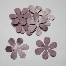 atl0014-gel-43x43 apie 43 x 43 mm, gėlytės forma, šviesi, alyvinė spalva, atlasas, 10 vnt.