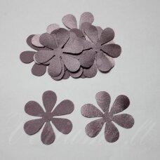 atl0015-gel-33x33 apie 33 x 33 mm, gėlytės forma, šviesi, alyvinė spalva, atlasas, 10 vnt.