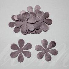 atl0015-gel-43x43 apie 43 x 43 mm, gėlytės forma, šviesi, alyvinė spalva, atlasas, 10 vnt.