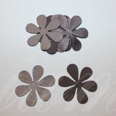 atl0017-gel-33x33 apie 33 x 33 mm, gėlytės forma, ruda spalva, atlasas, 10 vnt.