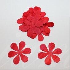 atl0021-gel-33x33 apie 33 x 33 mm, gėlytės forma, raudona spalva, atlasas, 10 vnt.
