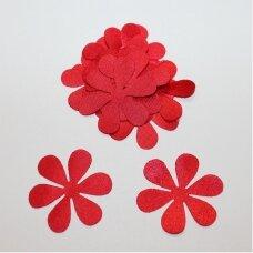 atl0021-gel-43x43 apie 43 x 43 mm, gėlytės forma, raudona spalva, atlasas, 10 vnt.