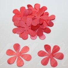 atl0025-gel-53x53 apie 53 x 53 mm, gėlytės forma, šviesi, raudona spalva, atlasas, 10 vnt.