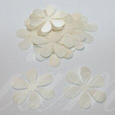 atl0026-gel-33x33 apie 33 x 33 mm, gėlytės forma, gelsva spalva, atlasas, 10 vnt.