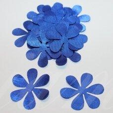 atl0029-gel-33x33 apie 33 x 33 mm, gėlytės forma, mėlyna spalva, atlasas, 10 vnt.
