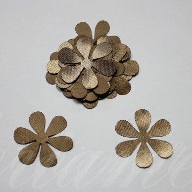 atl0003-gel-43x43. apie 43 x 43 mm, gėlytės forma, sendinta auksinė spalva, atlasas, 10 vnt.