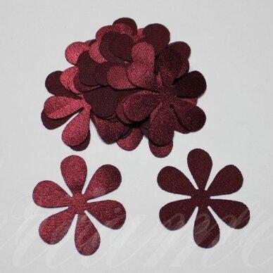 atl0009-gel-43x43 apie 43 x 43 mm, gėlytės forma, bordo spalva, atlasas, 10 vnt.