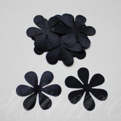 atl0010-gel-53x53 apie 53 x 53 mm, gėlytės forma, tamsi, mėlyna spalva, atlasas, 10 vnt.