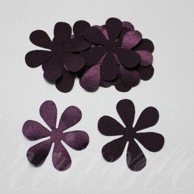 atl0013-gel-43x43 apie 43 x 43 mm, gėlytės forma, tamsi, violetinė spalva, atlasas, 10 vnt.