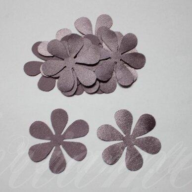 atl0015-gel-43x43. apie 43 x 43 mm, gėlytės forma, šviesi, alyvinė spalva, atlasas, 10 vnt.