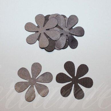 atl0017-gel-33x33. apie 33 x 33 mm, gėlytės forma, ruda spalva, atlasas, 10 vnt.