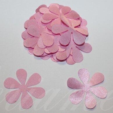 atl0022-gel-33x33 apie 33 x 33 mm, gėlytės forma, rožinė spalva, atlasas, 10 vnt.