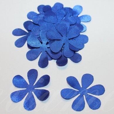 atl0029-gel-43x43 apie 43 x 43 mm, gėlytės forma, mėlyna spalva, atlasas, 10 vnt.