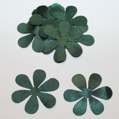 atl0030-gel-43x43 apie 43 x 43 mm, gėlytės forma, tamsi, žalia spalva, atlasas, 10 vnt.