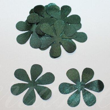 atl0030-gel-53x53 apie 53 x 53 mm, gėlytės forma, tamsi, žalia spalva, atlasas, 10 vnt.