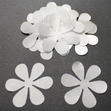 ATL0033-GEL-33x33 apie 33 x 33 mm, gėlės forma, balta spalva, atlasas, 10 vnt.