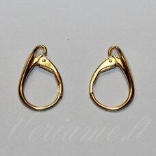 AUK001-18x11 apie 18 x 11 mm, 925 sidabras, dengtas tikru auksu, angliškas auskaro užsegimas, 0.625 g, 1 vnt.
