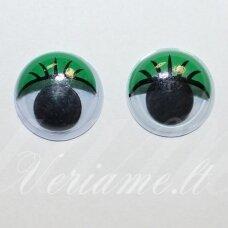 az0002 apie 6 x 2 mm, žalia spalva, klijuojama akutė žaislams, 30 vnt.