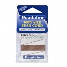 Beadalon® 100% Silk Bead Cord with Needle Size 02 (.018in/0.45mm) Beige (2m/6.5ft)