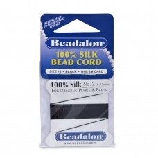 Beadalon® 100% Silk Bead Cord with Needle Size 02 (.018in/0.45mm) Black (2m/6.5ft)