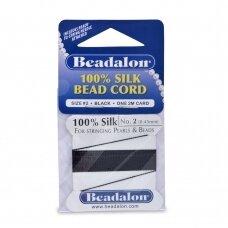 Beadalon® 100% šilkinė virvelė karoliukams (su adata) 02 dydis (.018in/0.45mm) Black (juoda) (2m/6.5ft)