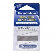 Beadalon® 100% Silk Bead Cord with Needle Size 02 (.018in/0.45mm) Grey (2m/6.5ft)