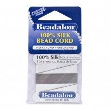 Beadalon® 100% šilkinė virvelė karoliukams (su adata) 02 dydis (.018in/0.45mm) Grey (pilka) (2m/6.5ft)