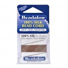 Beadalon® 100% šilkinė virvelė karoliukams (su adata) 04 dydis (.024in/0.60mm) Beige (2m/6.5ft)