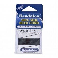Beadalon® 100% šilkinė virvelė karoliukams (su adata) 04 dydis (.024in/0.60mm) Black (juoda) (2m/6.5ft)