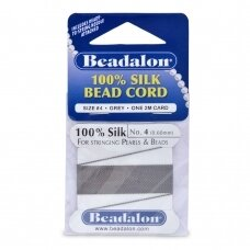 Beadalon® 100% Silk Bead Cord with Needle Size 04 (.024in/0.60mm) Grey (2m/6.5ft)