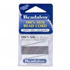 Beadalon® 100% šilkinė virvelė karoliukams (su adata) 04 dydis (.024in/0.60mm) Grey (pilka) (2m/6.5ft)