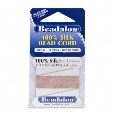 Beadalon® 100% Silk Bead Cord with Needle Size 04 (.024in/0.60mm) Light Pink (2m/6.5ft)