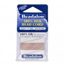 Beadalon® 100% šilkinė virvelė karoliukams (su adata) 04 dydis (.024in/0.60mm) Light Pink (šviesiai rožinė) (2m/6.5ft)